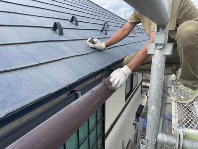 松川町外壁屋根塗装ケレン