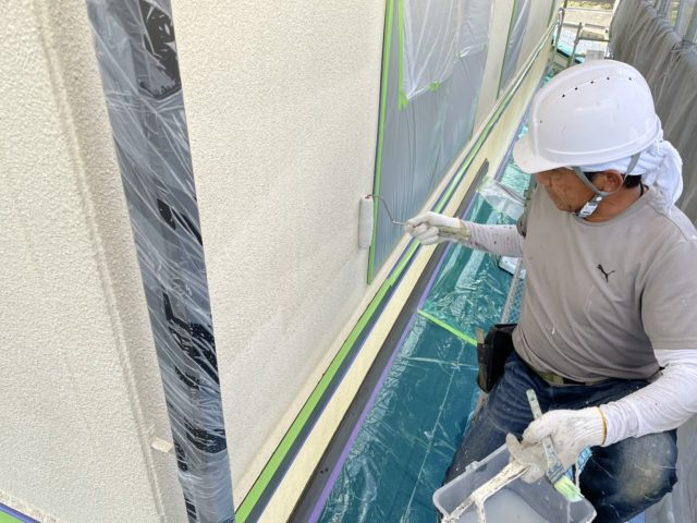 松川町外壁屋根塗装下塗り