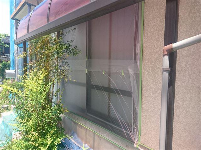 喬木村屋根外壁塗装養生2