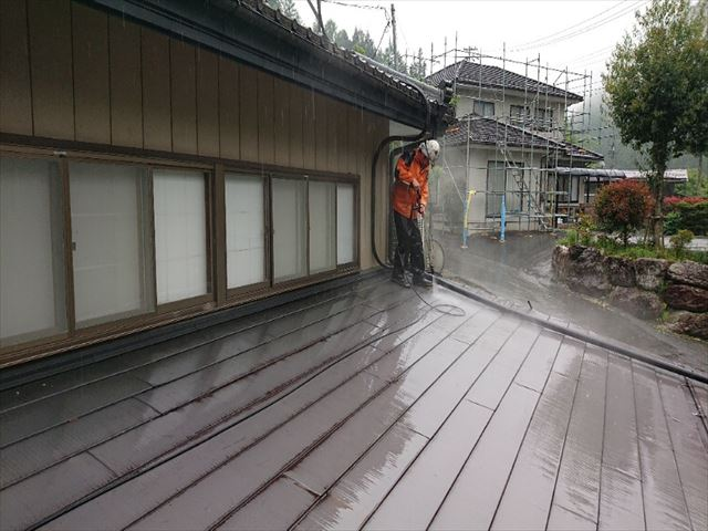 飯田市上村金属屋根壁洗浄2
